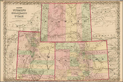 Antique Map - Colton's Wyoming Colorado And Utah 1876 Poster