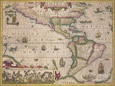 Antique Map Of America Poster