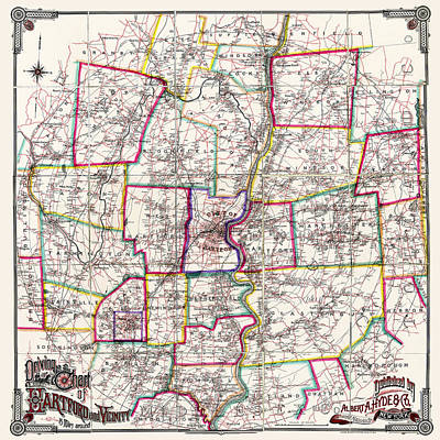 Horse Carriage Era Driving Map Of Hartford Connecticut Vicinity 1884 Poster by Phil Cardamone