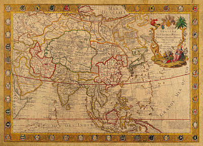 Antique Map Of Asia 1732 Vintage On Worn Canvas Poster