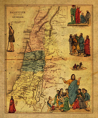 Antique Map Of Palestine 1856 On Worn Parchment Poster by Design Turnpike
