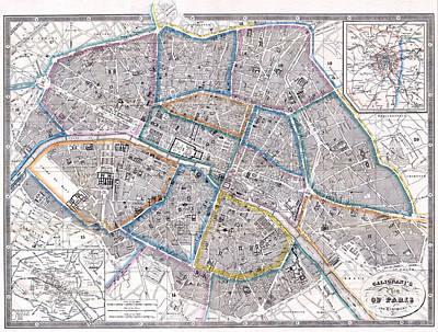 Antique Map Of Paris Poster by Giovanni Antonio Galignani