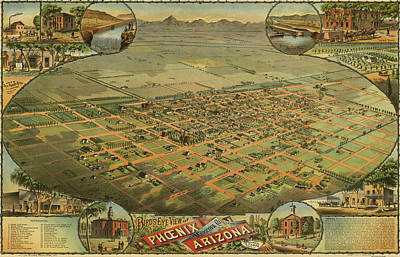 Antique Maps - Old Cartographic Maps - Antique Birds Eye View Map Of Phoenix Arizona Poster