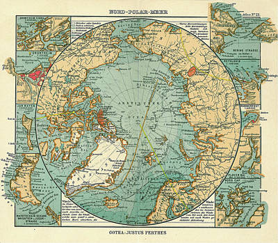 Antique Maps - Old Cartographic Maps - Antique Map Of North Pole And Arctic Ocean In German Poster
