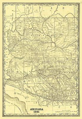 Antique Maps - Old Cartographic Maps - Antique Map Of Arizona, 1881 Poster