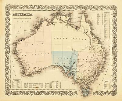 Antique Maps - Old Cartographic Maps - Antique Map Of Australia Poster