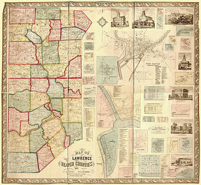 Antique Maps - Old Cartographic Maps - Antique Map Of Lawrence And Beaver Counties, 1860 Poster