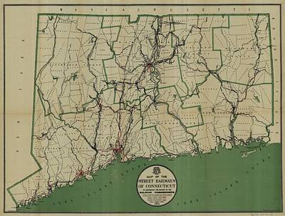 Antique Maps - Old Cartographic Maps - Antique Map Of The Street Railways Of Connecticut, 1911 Poster