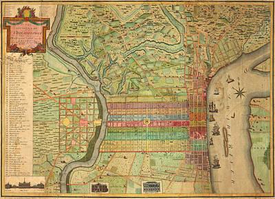 Antique Maps - Old Cartographic Maps - Antique Map Of Philadelphia, Pennsylvania, 1802 Poster