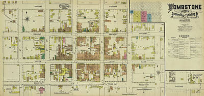Antique Maps - Old Cartographic Maps - Antique Map Of Tombstone, Arizona, 1886 Poster