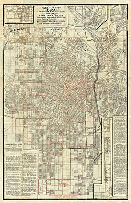 Antique Maps - Old Cartographic Maps - Antique Street Railway Map Of The City Of Los Angeles, 1908 Poster