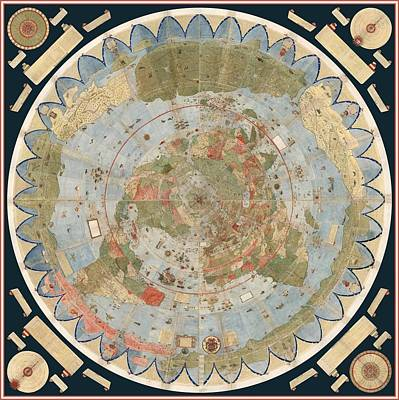 Antique Maps - Old Cartographic Maps - Flat Earth Map - Map Of The World Poster