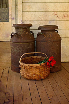 Antique Milk Cans On Porch Poster by Carmen Del Valle