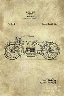 Antique Motorcycle Blueprint Patent Drawing Plan From 1919, Industrial Farmhouse Poster by Tina Lavoie