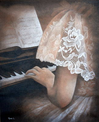Antique Piano Poster by Rachel Lawson