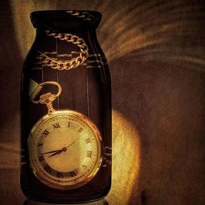 Antique Pocket Watch In A Bottle Poster by Susan Candelario