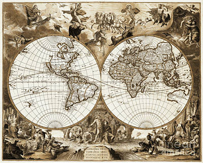 Antique Sepia World Map Poster