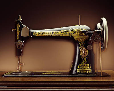 Antique Singer Sewing Machine Poster