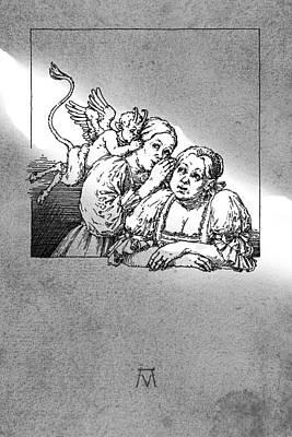 Antique Souvenir - Gossip Poster by Attila Meszlenyi