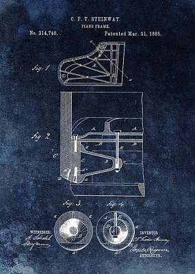 Antique Steinway Piano Frame Patent Poster by Dan Sproul