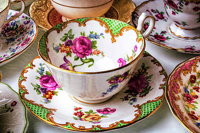 Antique Tea Cups Poster by Garry Gay