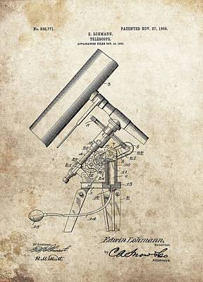 Antique Telescope Patent Poster by Dan Sproul