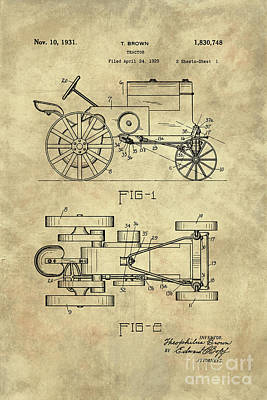 Antique Tractor Blueprint Patent Drawing Plan From 1929, Industrial Farmhouse Poster