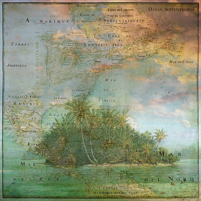 Poster featuring the photograph Antique Vintage Map Of North America Tropical Ocean by Debra and Dave Vanderlaan
