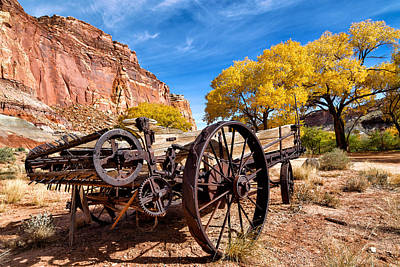 Antique Wagon In The Desert Poster