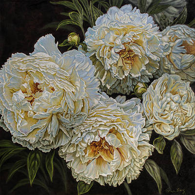 Antique White Peonies Poster