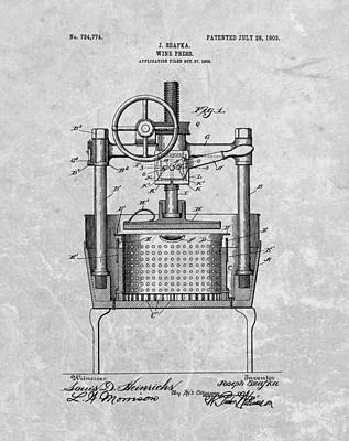 Antique Wine Press Patent Poster by Dan Sproul