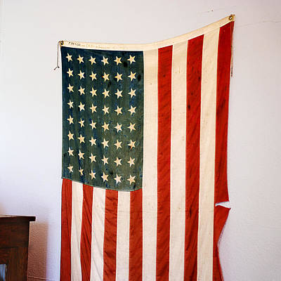 Antique 48 Star American Flag  Poster by Donald  Erickson