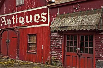 Antiques Red Barn Poster by Karol Livote