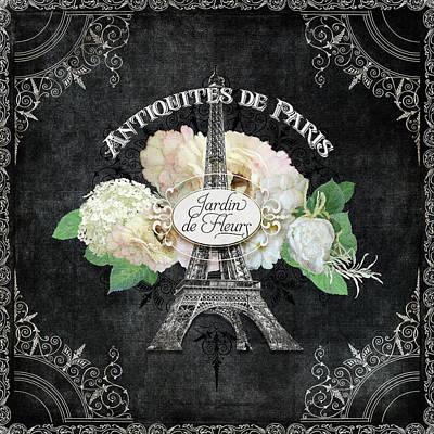 Antiquities De Paris Eiffel Tower  Floral Poster