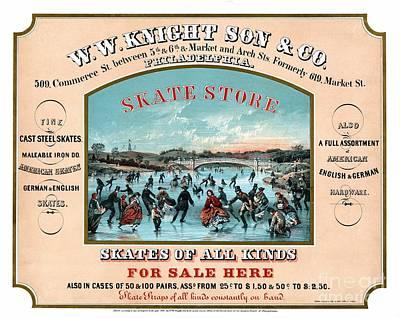 Antique Philadelphia Ice Skate Store Poster by Heidi De Leeuw