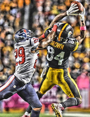 Antonio Brown Steelers Art 4 Poster by Joe Hamilton