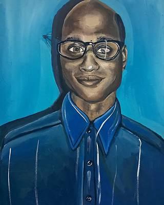 Black Man Artwork Black Nerd Superhero Painting Poster