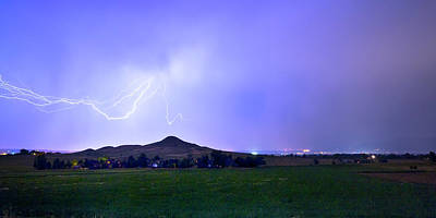 Poster featuring the photograph Anvil Lightning Striking Above Haystack Mountain Panorama by James BO Insogna
