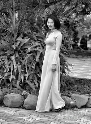 Ao Dai Fashion Black White  Poster by Chuck Kuhn
