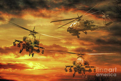 Apache Attack Poster by Randy Steele