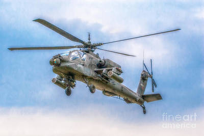 Apache Helicopter In Flight One Poster