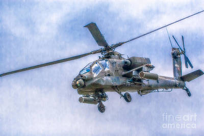 Apache Helicopter In Flight Two Poster