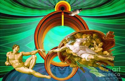 Apollo 8 And The Creation Of Adam In Green Poster by Art Gallery