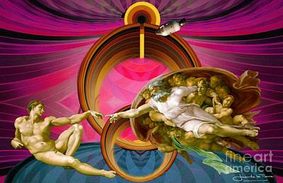 Apollo 8 And The Creation Of Adam In Purple Poster by Art Gallery