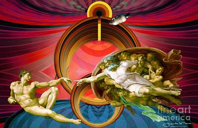 Apollo 8 And The Creation Of Adam In Red Poster by Art Gallery