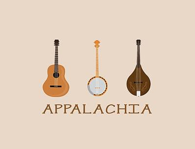 Poster featuring the digital art Appalachia Music by Heather Applegate