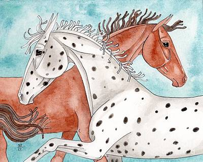 Appaloosa And Chestnut On Turquoise Poster by Suzanne Joyner