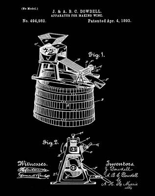 Apparatus For Making Wine Patent 1893 Black Poster by Bill Cannon