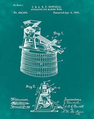 Apparatus For Making Wine Patent 1893 Green Poster by Bill Cannon