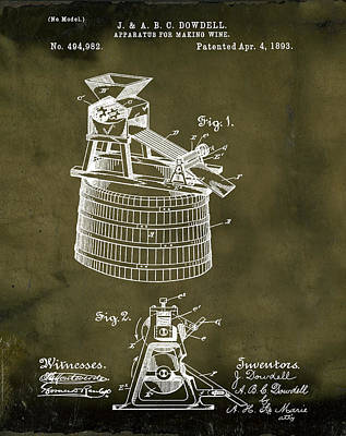 Apparatus For Making Wine Patent 1893 Grunge Poster by Bill Cannon